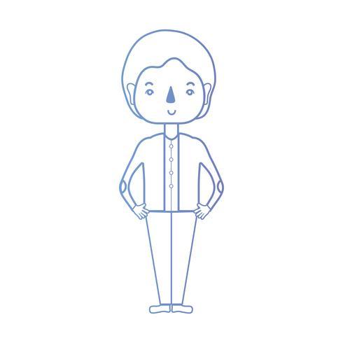 homme de ligne avec la conception de coiffure et de vêtements