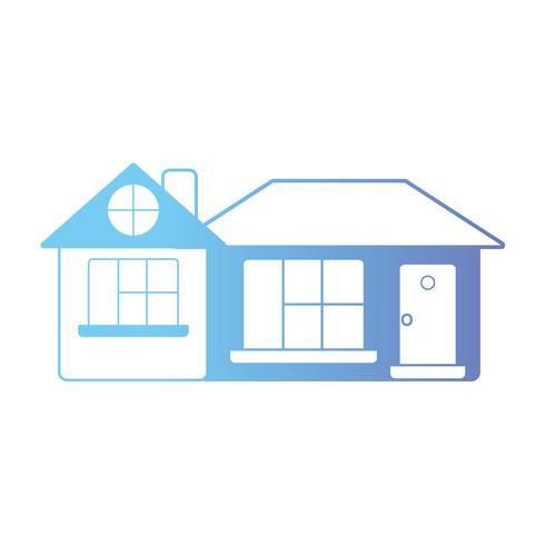 lijnhuis met deur en raam en dak