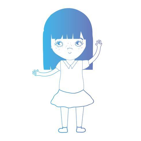 ligne avatar fille avec coiffure et vêtements