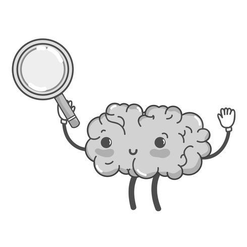 Cerebro feliz kawaii en escala de grises con lupa