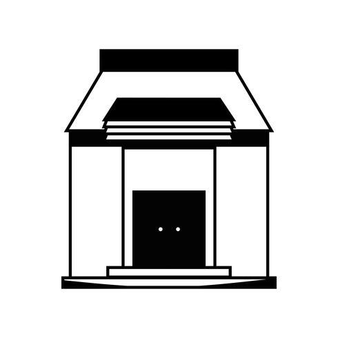 educação escolar de contorno com design de telhado e portas vetor