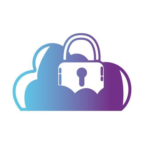 Línea de nube de datos con candado a la información de seguridad.