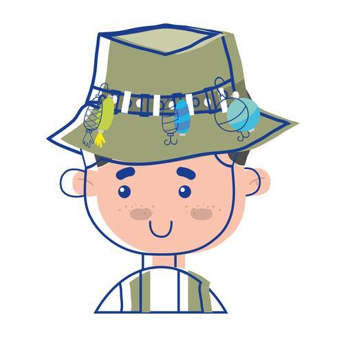 pêcheur avec chapeau design et sport rigolo