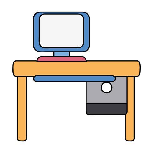 bureau avec informatique et bureau en bois