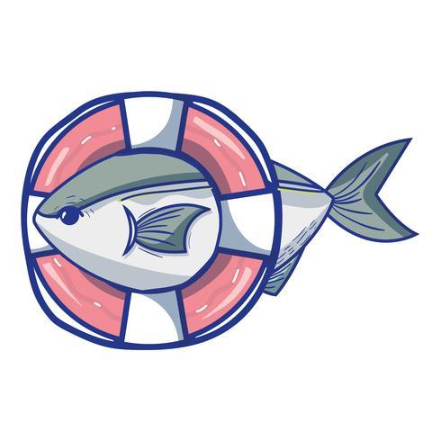 poisson avec la conception d'objet de bouée de sauvetage