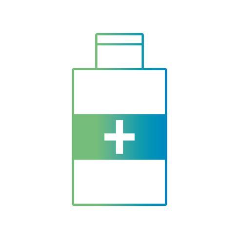 Línea de alcohol botella de tratamiento médico para desinfección. vector