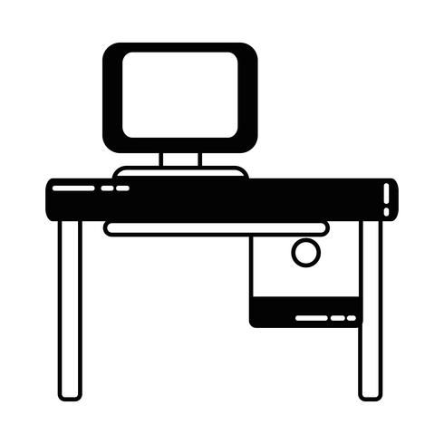 konturkontor med datorteknik och träskrivbord