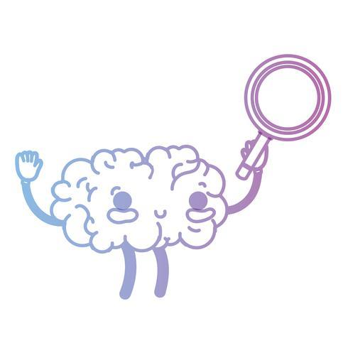 Linie kawaii glückliches Gehirn mit Lupe