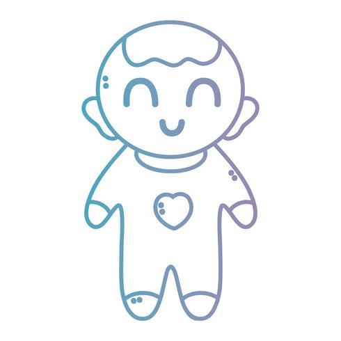 Línea de simpático bebé con pijama y peinado.