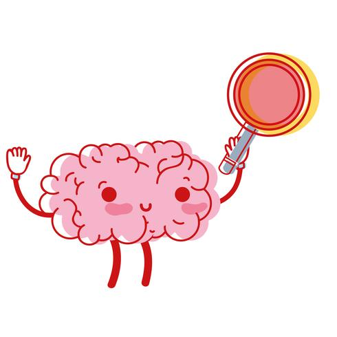 kawaii happy brain with magnifying glass
