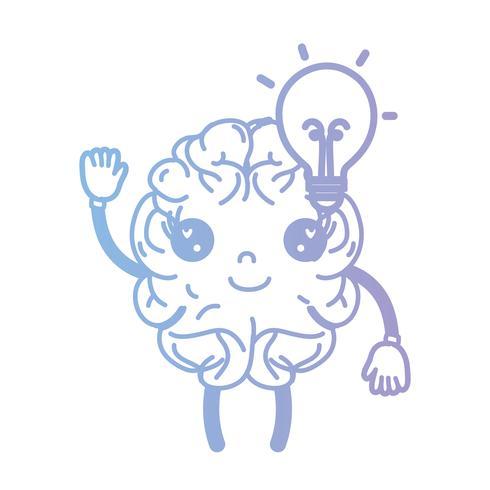 Linie kawaii glückliches Gehirn mit Birnenidee