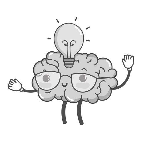 grayscale kawaii happy brain with bulb idea