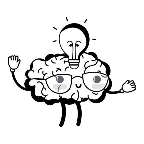 kontur kawaii glad hjärna med lampa idé