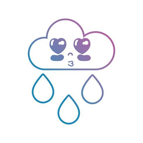 lijn kawaii schattig gelukkig wolk regent