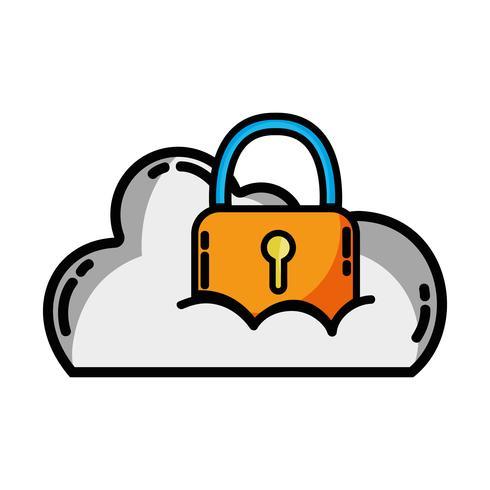dados em nuvem com cadeado para informações de segurança