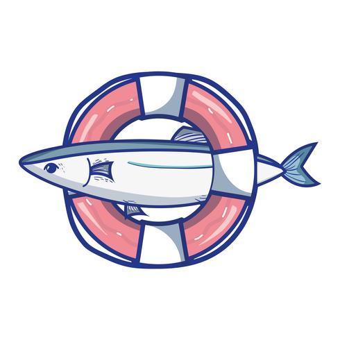 fisk med livboj objekt design vektor
