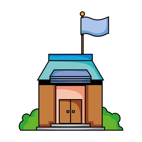 schoolonderwijs met dak- en deurenontwerp