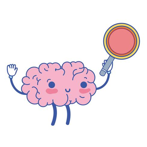 kawaii happy brain with magnifying glass