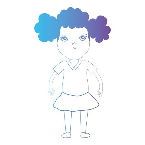 line avatar girl with hairstyle and clothes