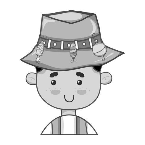pescador em tons de cinza com design de chapéu e esporte engraçado
