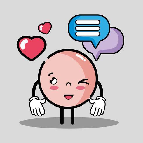 emoji emoção cara com mensagem de bolha de bate-papo