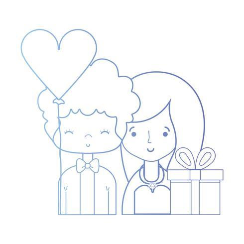 lijn schoonheid paar getrouwd met kapselontwerp