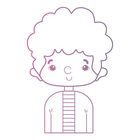 Línea hombre lindo con diseño de peinado y camisa. vector