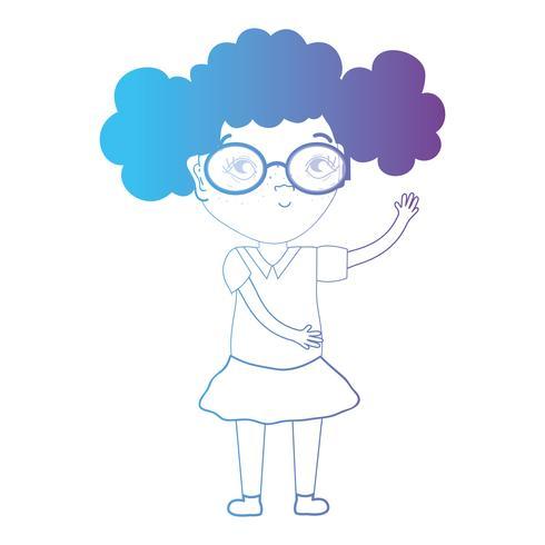 garota de avatar de linha com penteado e roupas