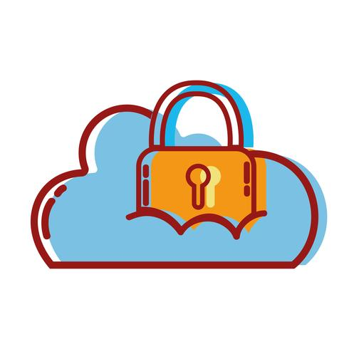 cloud data with padlock to sercurity information vector