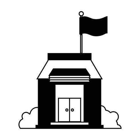 educação escolar de contorno com design de telhado e portas
