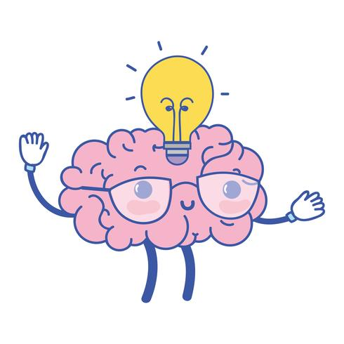 kawaii glad hjärna med lampa idén