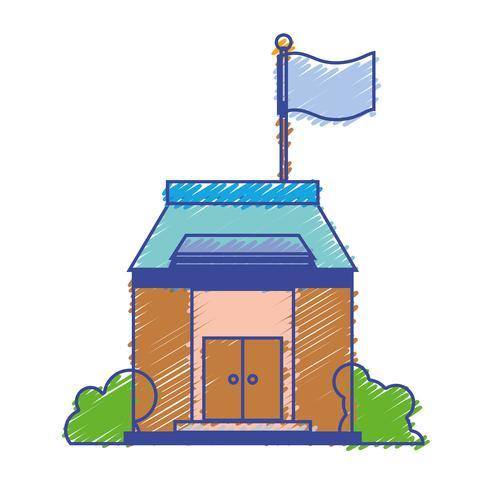 Schulbildung mit Dach und Türen Design