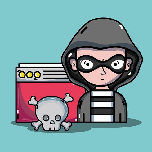 pessoa hacker para vírus programador no sistema