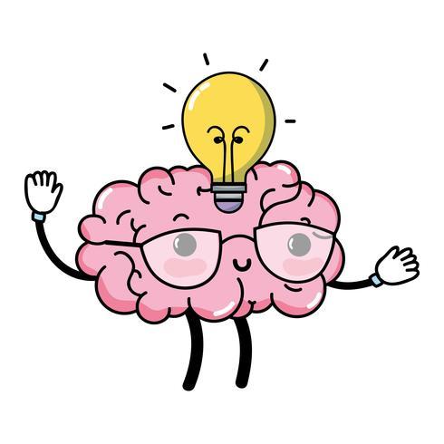 kawaii happy brain with bulb idea