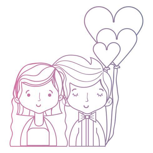 ligne beauté couple marié avec une coiffure