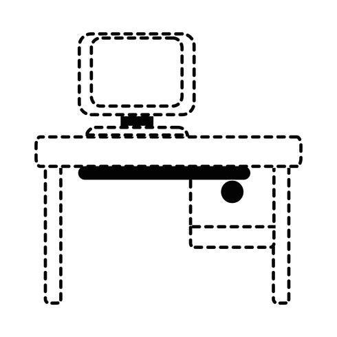 prickad formkontor med datorteknik och träskrivbord