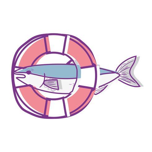 Pescado con diseño de objeto salvavidas.