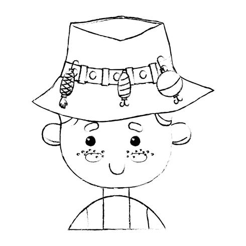pescador de figura com design de chapéu e esporte engraçado