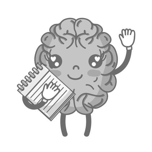 Cerveau heureux kawaii en niveaux de gris avec un outil pour ordinateur portable