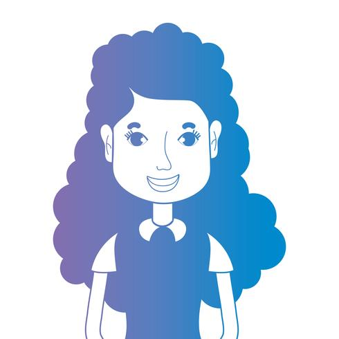 line avatar woman with hairstyle and blouse vector