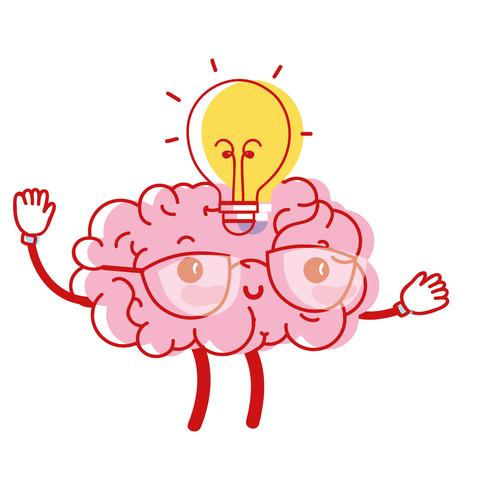 cérebro kawaii feliz com idéia de bulbo
