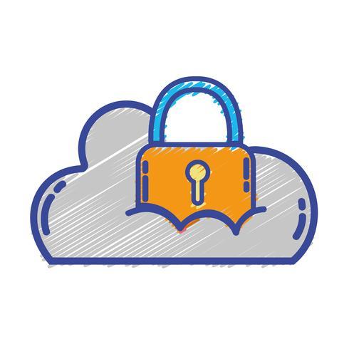 Datos en la nube con candado a información de seguridad