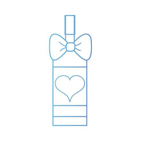 linea deliziosa bottiglia di vino con fiocco in nastro e cuore