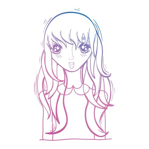 line beauty anime girl with hairstyle and blouse
