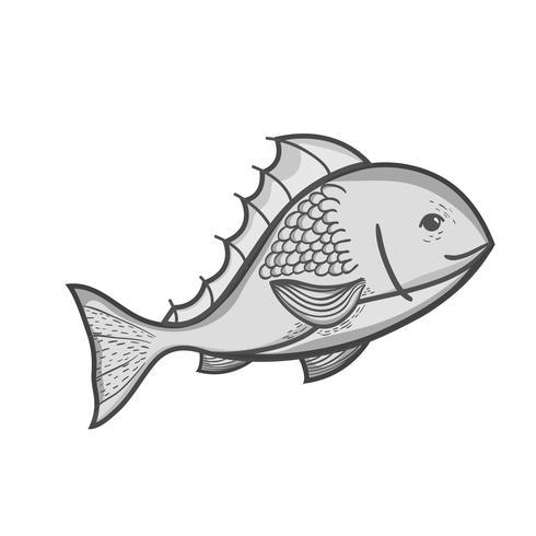 Graustufen köstliche Meeresfrüchte Fisch mit natürlicher Ernährung