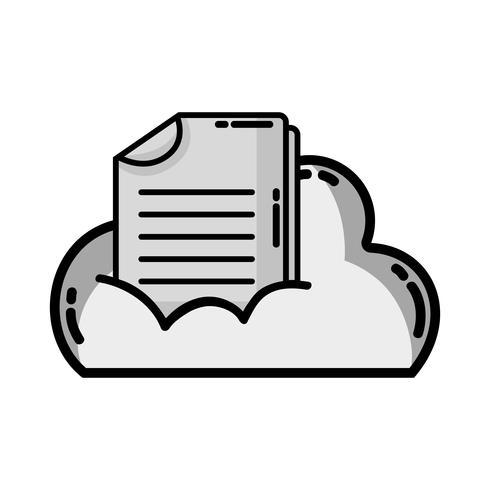 dati cloud in scala di grigi con informazioni sul documento digitale