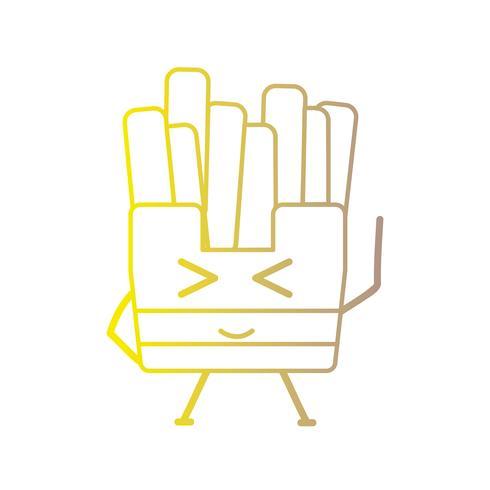 line kawaii söta glada pommes frites vektor