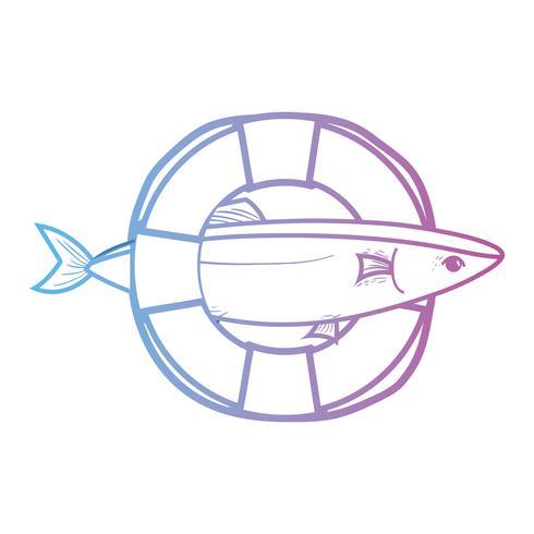Línea de peces con diseño de objetos salvavidas.
