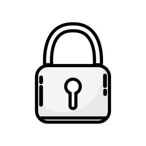Linie Vorhängeschloss Sicherheitsschutzobjekt zu Datenschutzinformationen