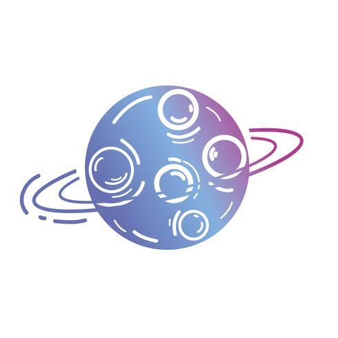 ligne planète uranus avec ses anneaux dans l'espace de la galaxie